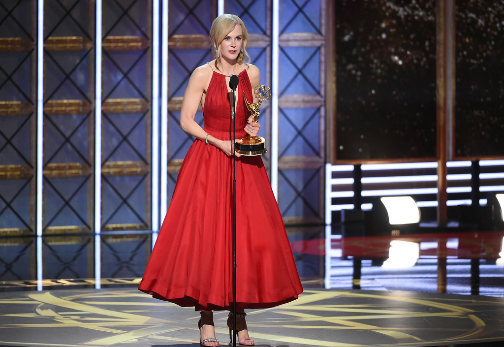 ". Nicole Kidman accepts the award for outstanding lead actress in a limited series or a movie for ""Big Little Lies\"" at the 69th Primetime Emmy Awards on Sunday, Sept. 17, 2017, at the Microsoft Theater in Los Angeles. (Photo by Phil McCarten/Invision for the Television Academy/AP Images)"