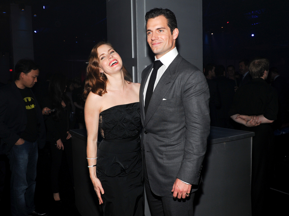 """. Actress Amy Adams and actor Henry Cavill attend the \""""Man Of Steel\"""" world premiere after-party at Skylight at Moynihan Station on Monday, June 10, 2013 in New York. (Photo by Evan Agostini/Invision/AP)"""