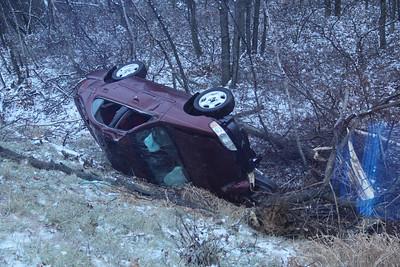Overturned Car, Mile Marker 128.1, Interstate 81, Mahanoy Township (11-26-2013)