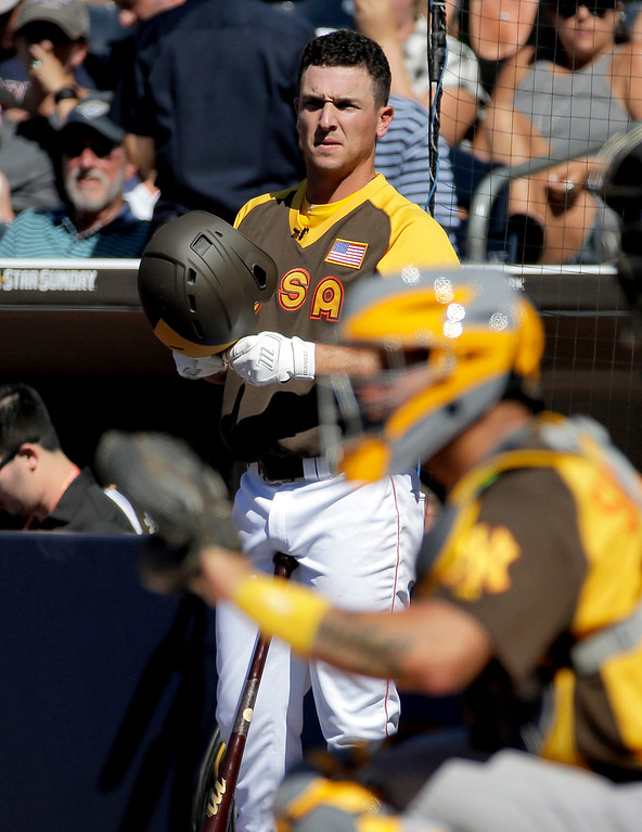 . U.S. Team\'s Andrew Benintendi, of the Boston Red Sox,  waits on deck during the first inning of the All-Star Futures baseball game, Sunday, July 10, 2016, in San Diego. (AP Photo/Matt York)