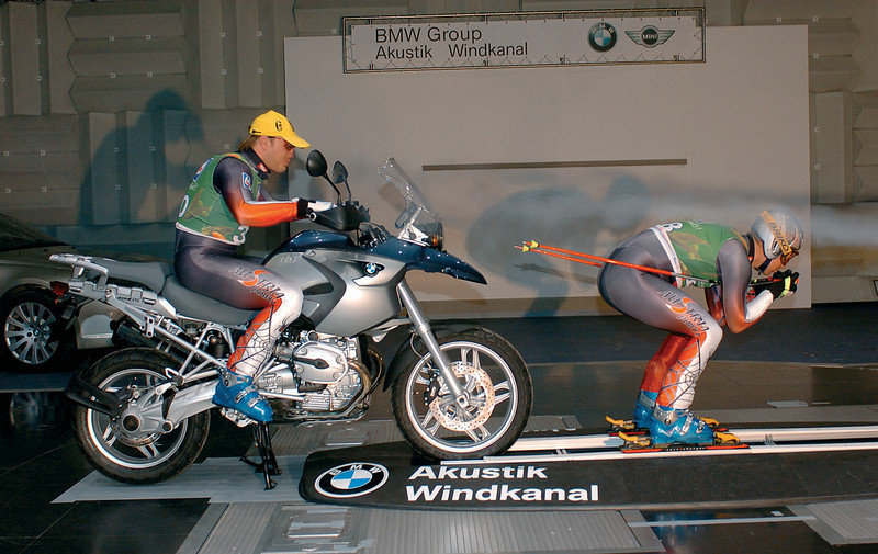 2004 R1200GS with Austrian skiing stars Benjamin Raich and Hermann Maiertesting at a BMW wind tunnel