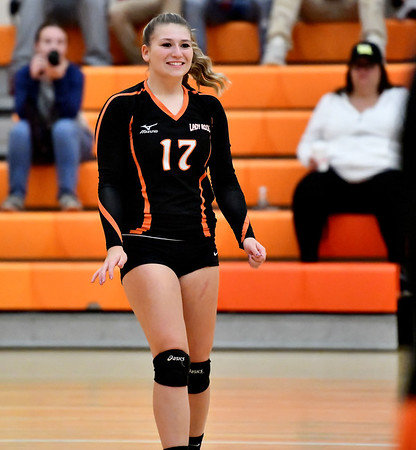 10/18/2019 Mike Orazzi | StaffrTerryville's Leah Dionne (17) during Friday night's girls volleyball match with Goodwin Tech in Terryville.
