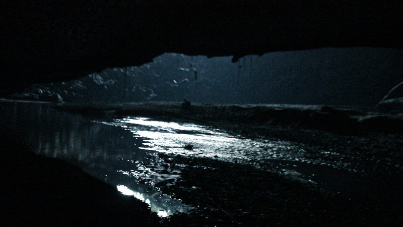 Looking out of Swallow Cave to moonlit water