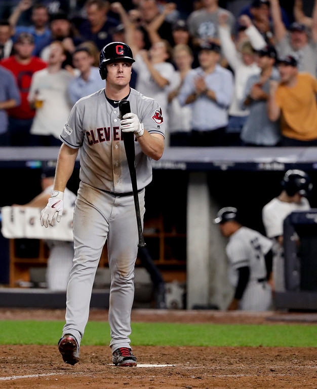 . Cleveland Indians\' Jay Bruce reacts after striking out with two runners on base to end the top of the eighth inning against the New York Yankees in Game 4 of baseball\'s American League Division Series, Monday, Oct. 9, 2017, in New York. (AP Photo/Frank Franklin II)