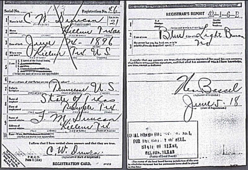 1918 - Carl Wilson Duncan draft card.jpg