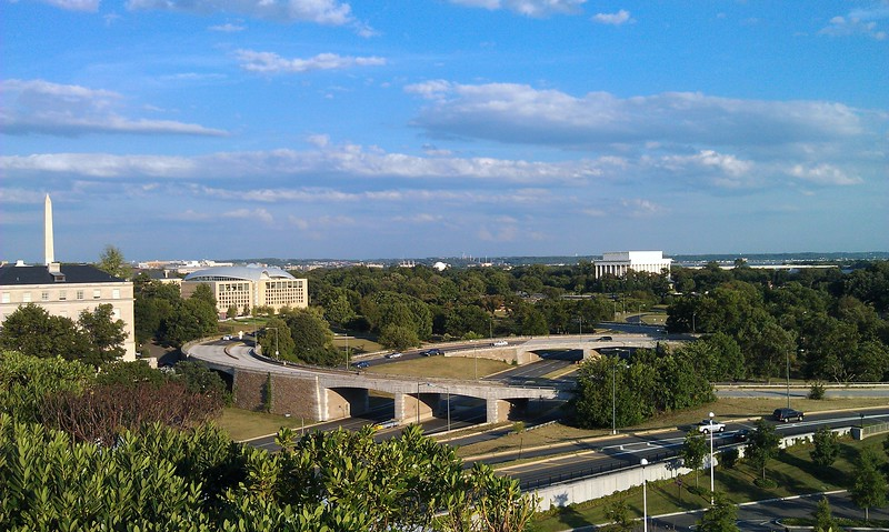 View from the terrace of the John F. Kennedy Center for the Performing Arts of the Washington Monument (l), United States Institute of Peace, and Lincoln Memorial (r)
