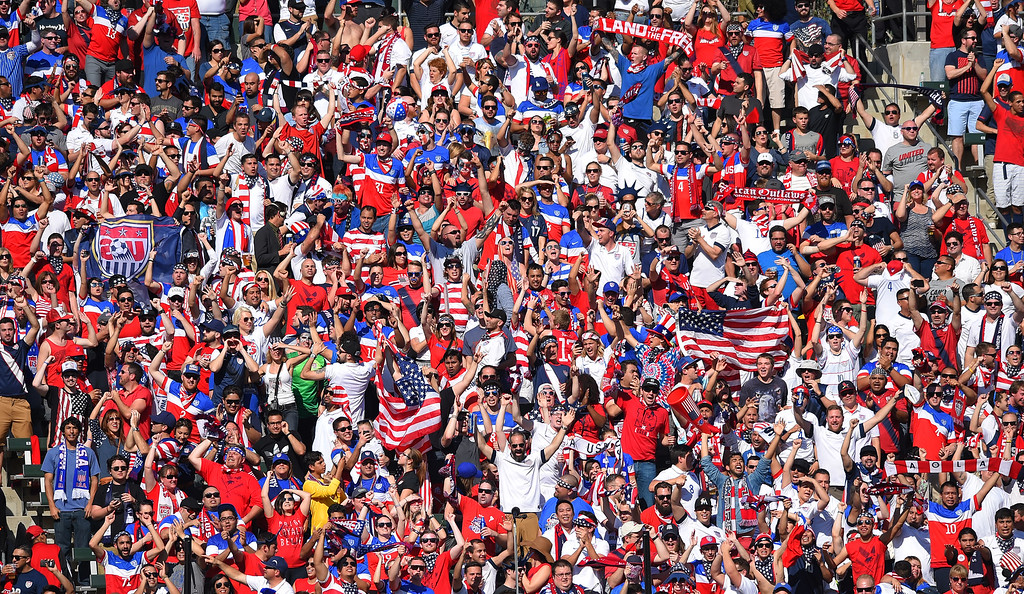 . US fans celebrate a goal at the StubHub Center in Carson, CA on Sunday, February 8, 2015. US men\'s national team vs Panama in an international friendly soccer match. 1st half. (Photo by Scott Varley, Daily Breeze)