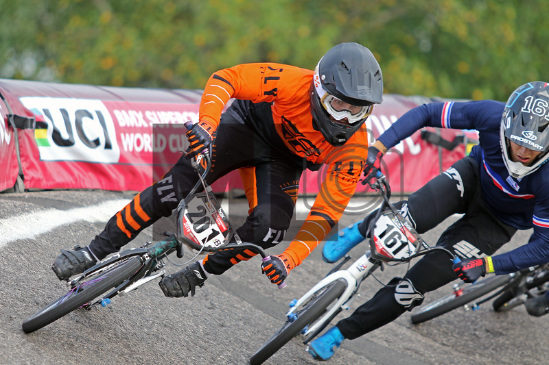 Anthony Bucardo (201) of the United States and Mathis Ragot Richard (161) of France race at the UCI BMX Supercross World Cup Round 8 at Rock Hill, S.C., on Saturday, Sept. 14, 2019.