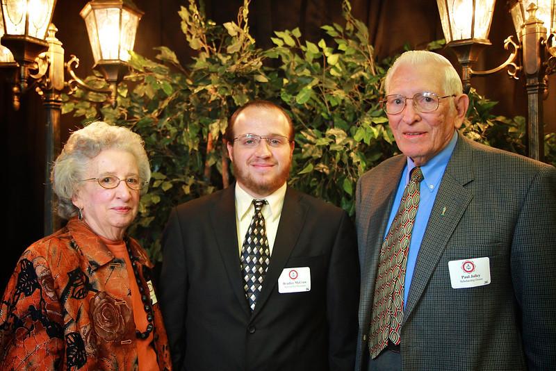 Bradley McCraw, Paul Jolley, Maxine Jolley. Scholarship Luncheon at Gardner-Webb University.