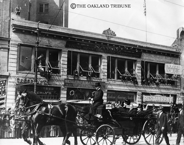 """. Circa 1907 San Francisco, CA - President William Howard Taft, returning from his duties as military governor of the Philippines, waves his hat to crowds on Market at Second Street. Riding with him is Edward Robeson Taylor, San Francisco Mayor. (E. A. \""""Doc\"""" Rogers / Oakland Tribune Staff Archives)  Published January 21, 1940"""