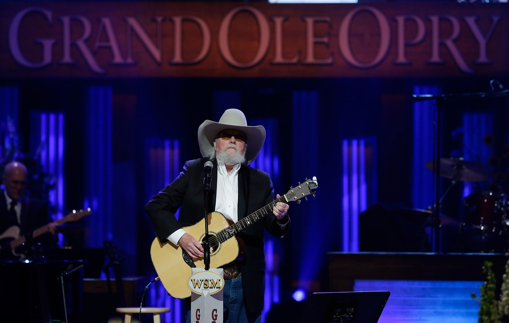 . Charlie Daniels performs during the funeral for country music star George Jones in the Grand Ole Opry House on Thursday, May 2, 2013, in Nashville, Tenn.  (AP Photo/Mark Humphrey, Pool)