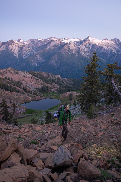 Backpacking in the Trinity Alps Wilderness in Northern California at first light.