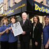 Deli*lites recieve Eat safe Award, John Farrell Director of Environmental Services presents Siobhan Reel Manager of Deli*lites with the award. Also pictured are Elaine Johnston and Ann McAleenan along with Environmental Health Officer Sarah Black. 07W9N25