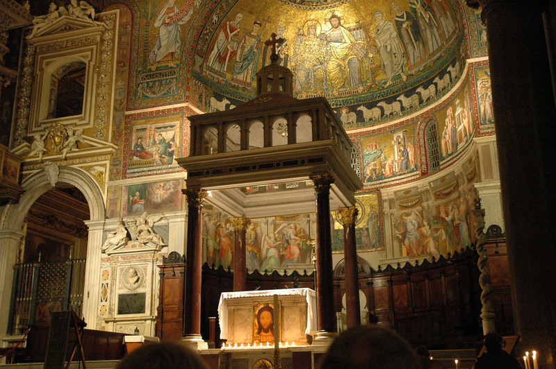 The Community of Sant'Egidio, Rome, prays each evening in Santa Maria Trastevere, Rome.
