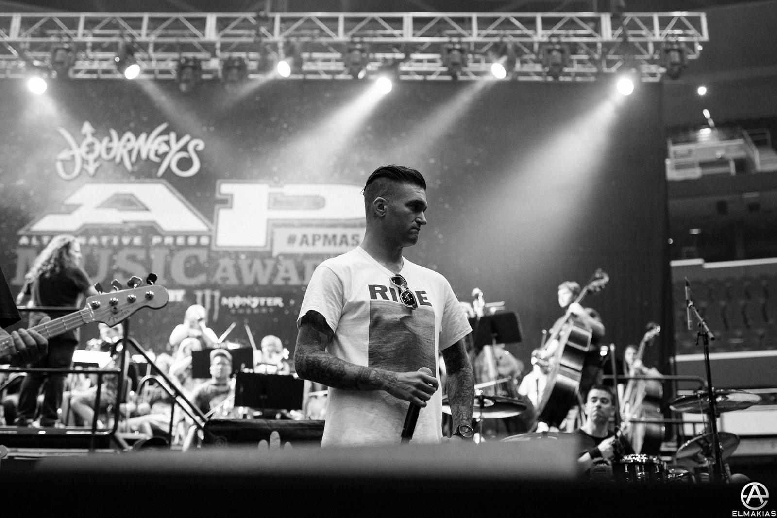Jordan Pundik of New Found Glory at rehearsals for the Alternative Press Music Awards 2015 by Adam Elmakias