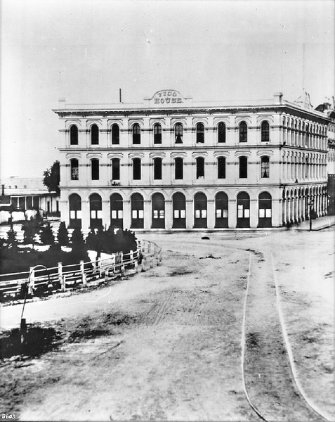 Exterior view of the Pico House and Plaza, Sonora Town, ca.1878