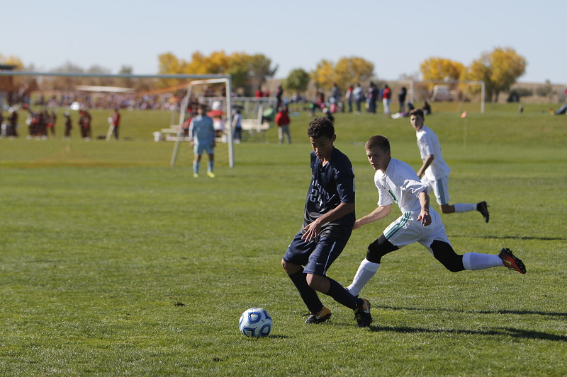 The first half of the Moriarity High School vs Santa Fe Prep boys game at the State Soccer Tournament on Thursday, November 2, 2017, at the Bernalillo Soccer Complex. Prep lost 3-0. Luis Sánchez Saturno/The New Mexican