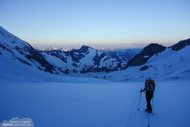 At the foot of Tête Blanche, where a perfect 40 degree firn slope starts.