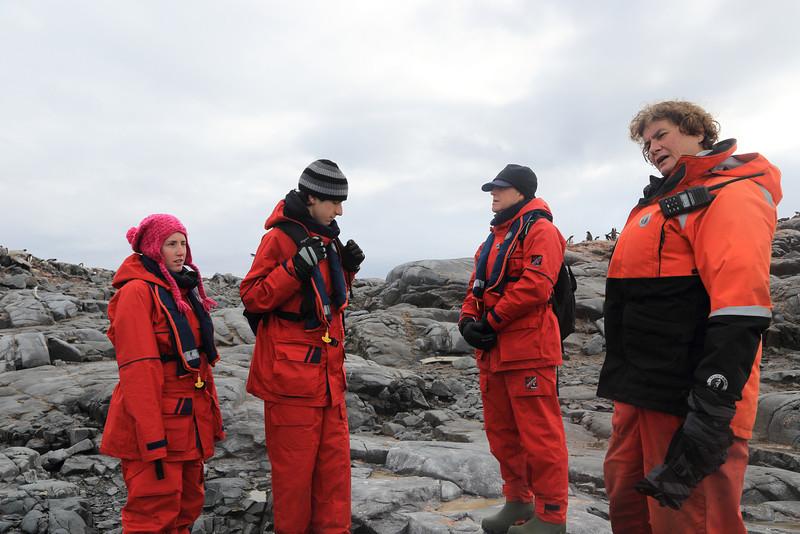Antarctica - Jan 2013 - Sergey Vavilov Circle Trip, The One Ocean Expedition staff:   Liz Calhoun as Kylie and brother look on..