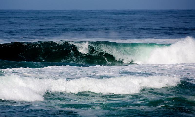 The waves crash.