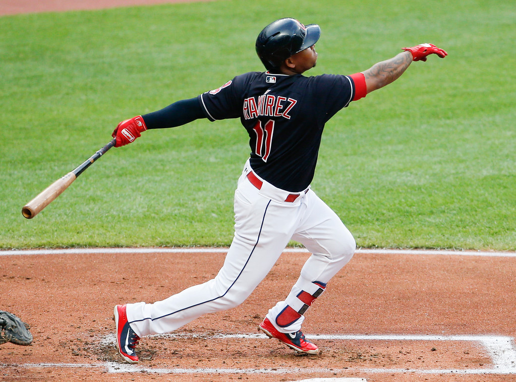 . Cleveland Indians\' Jose Ramirez hits a solo home run off New York Yankees starting pitcher CC Sabathia during the first inning of a baseball game, Saturday, July 14, 2018, in Cleveland. (AP Photo/Ron Schwane)