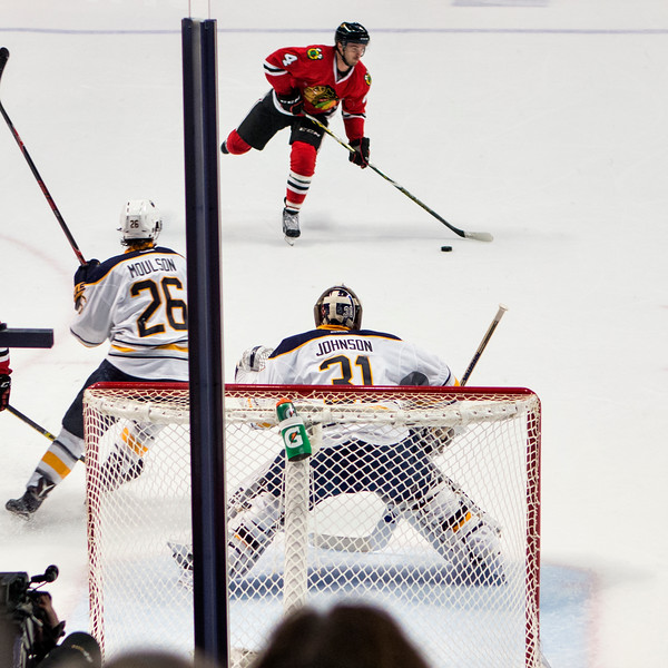 Niklas Hjalmarsson skates for  a shot on goal - one of four.
