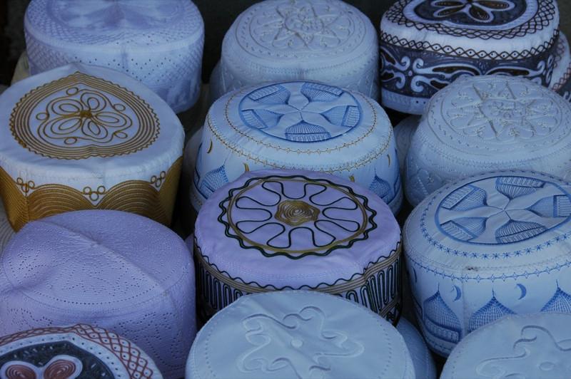 Muslim Headwear for the Mosque - Kashgar, China