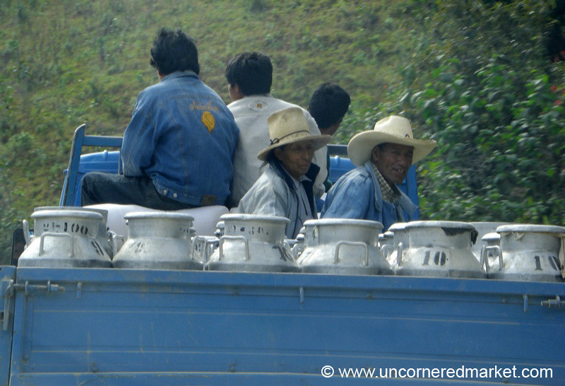 Milk Jugs and Passengers - Chachapoyas, Peru