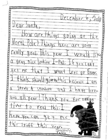 Mrs. Chapin's second grade Letters to Santa, 12/12/2018