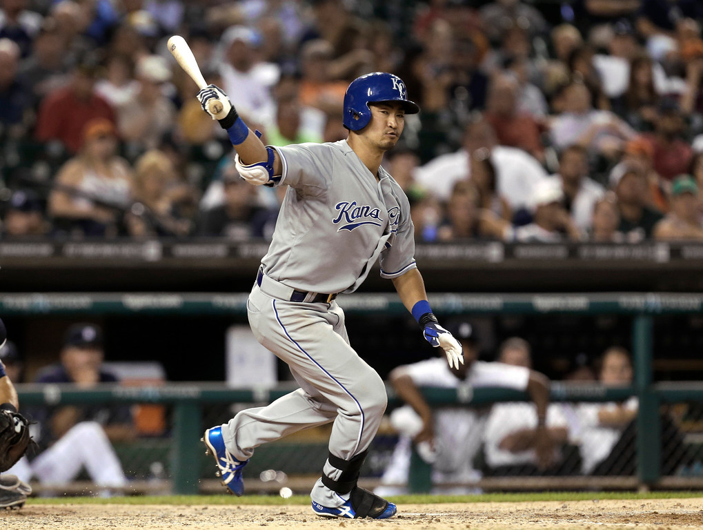 . Kansas City Royals\' Norichika Aoki bats against the Detroit Tigers in the seventh inning of a baseball game in Detroit, Monday, June 16, 2014.  (AP Photo/Paul Sancya)