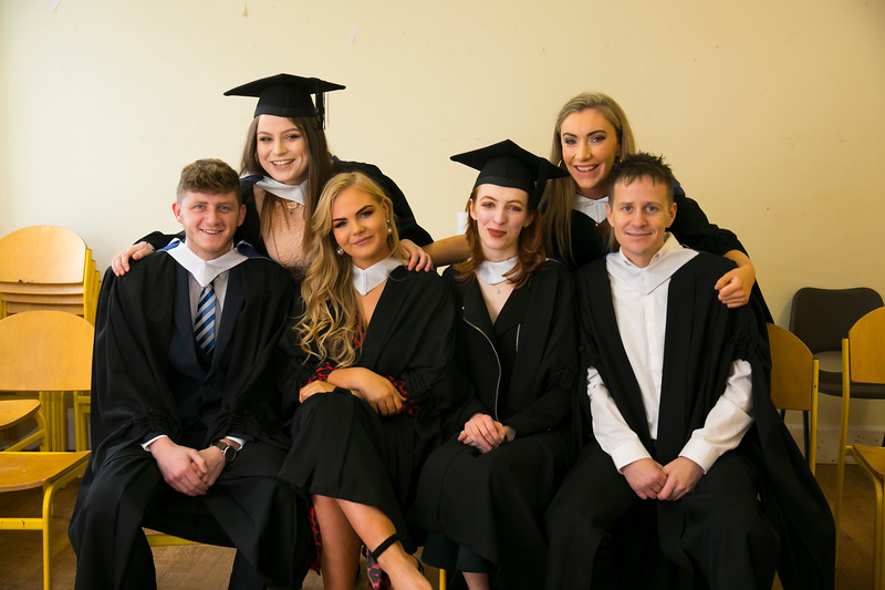 02/11/2018. Waterford Institute of Technology (WIT) Conferring Ceremonies 2018. Pictured are Conor Rochford Waterford, Megan Decourcey Waterford, Maeve Cullen Wicklow, Ruaidhri Bates Kilmore quay, Niamh McDonald Wicklow, Emily Quann Cheekpoint . Picture: Patrick Browne