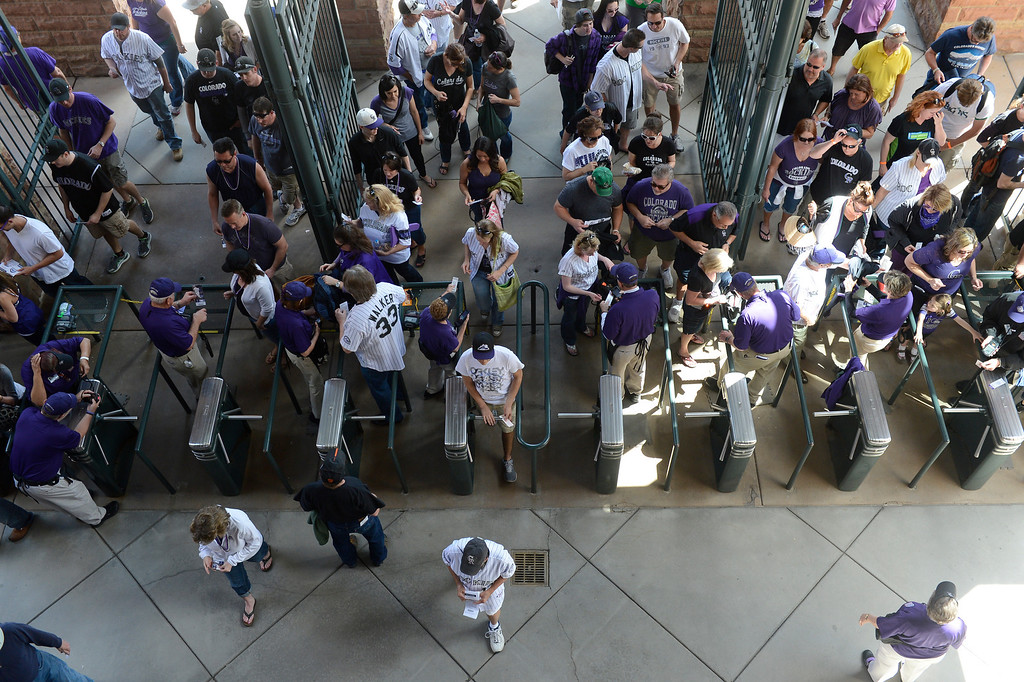 . Fans file into the stadium before the start of the game.(Photo by Andy Cross/The Denver Post)