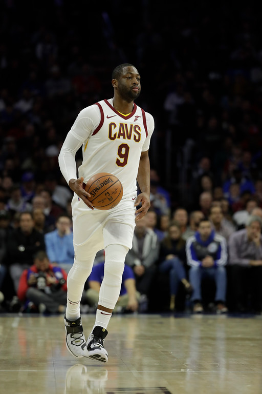 . Cleveland Cavaliers\' Dwyane Wade in action during an NBA basketball game against the Philadelphia 76ers, Monday, Nov. 27, 2017, in Philadelphia. (AP Photo/Matt Slocum)