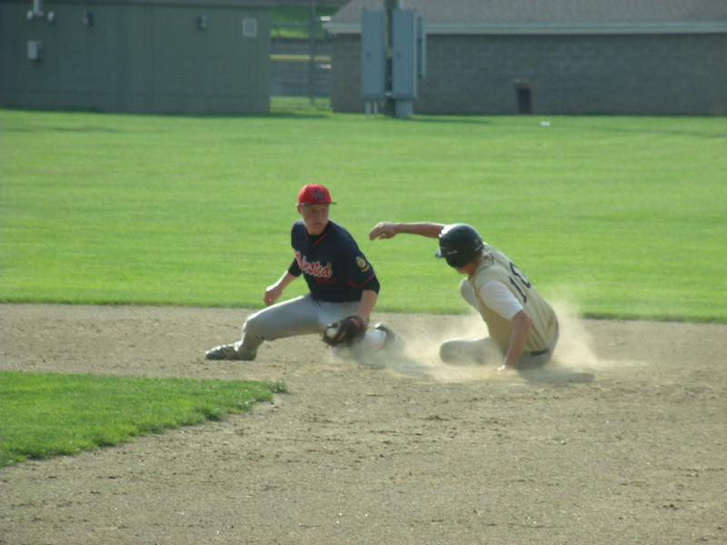 AMERICAN LEGION 17U TOURNEY - A Willimantic runner just beats the tag at second, though Winsted would eventually prevail 3-0.JPG