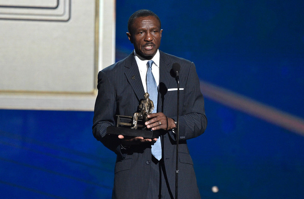 . Dwane Casey, current head coach of the Detroit Pistons, accepts the coach of the year award for his work with the Toronto Raptors at the NBA Awards on Monday, June 25, 2018, at the Barker Hangar in Santa Monica, Calif. (Photo by Chris Pizzello/Invision/AP)