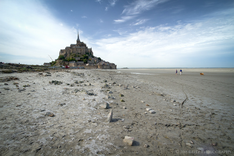 View of Mont St. Michel from the beach next to the causeway.