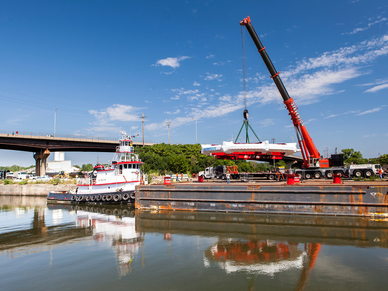 g-2 Ring Being Lifted Off Barge July 21, 2013.