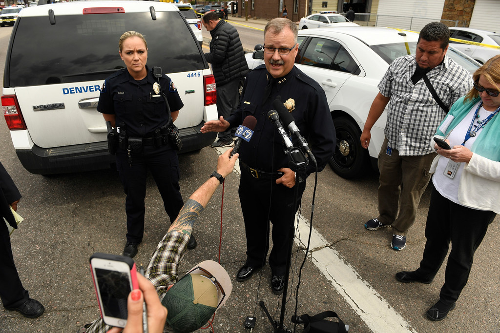 . DENVER, CO - MAY 9:  Denver deputy chief Matt Murray speaks to members of the media about an officer involved shooting at Colfax ave between Wabash and Verbena streets on May 9, 2016 in Denver, Colorado. One person was transported to an area hospital in critical condition. (Photo by Helen H. Richardson/The Denver Post)