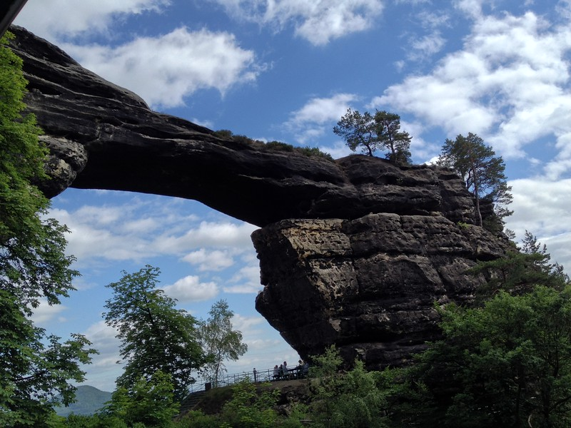 A natural stone bridge in Bohemian Switzerland.