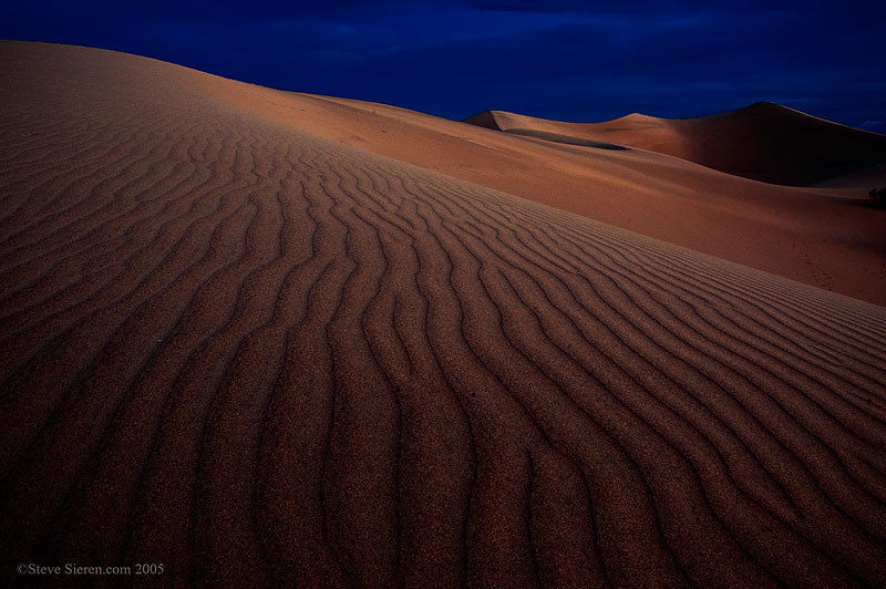 Death Valley Mesquite Dunes at night.