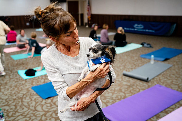 HFWH Yoga with pet therapy dogs