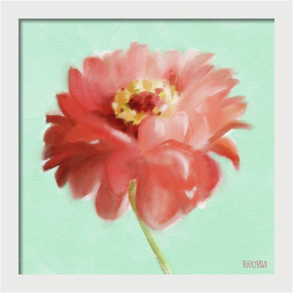 Zinnia Floral Coral & Mint Green Wall Art by Beverly Brown