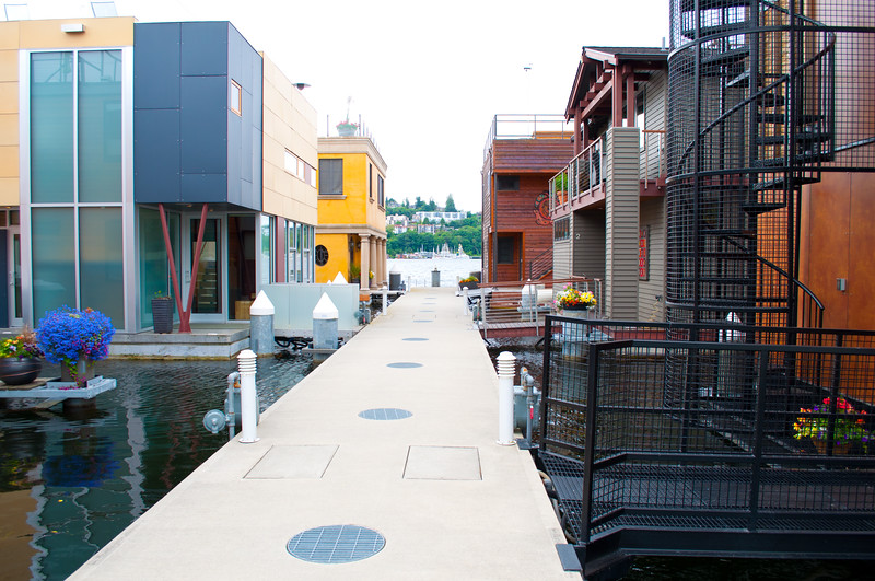 More modern floating homes; some of the last allowed by the city.