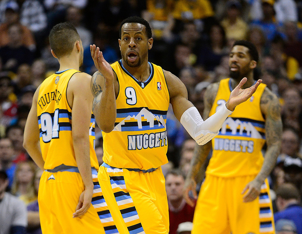 . DENVER, CO. - APRIL 20: Denver Nuggets shooting guard Andre Iguodala (9) reacts to getting called for a foul in the third quarter. The Denver Nuggets took on the Golden State Warriors in Game 1 of the Western Conference First Round Series at the Pepsi Center in Denver, Colo. on April 20, 2013. (Photo by AAron Ontiveroz/The Denver Post)