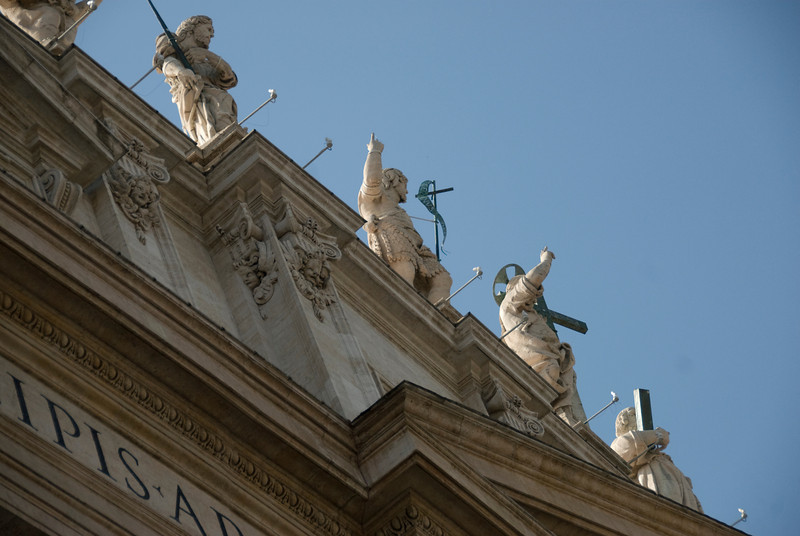 Looking up the statues of saints in St Peter's Basilica - Vatican City