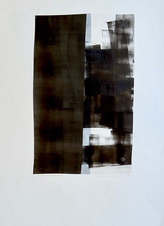 Black and White Structure I-Mackey, painting on 22x30 paper