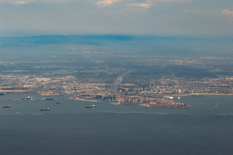 An aerial view of Long Beach, california and port operations for one of the world's largest ports