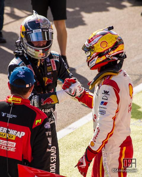 Shane van Gisbergen consoled by race winner Scott McLaughlin aft