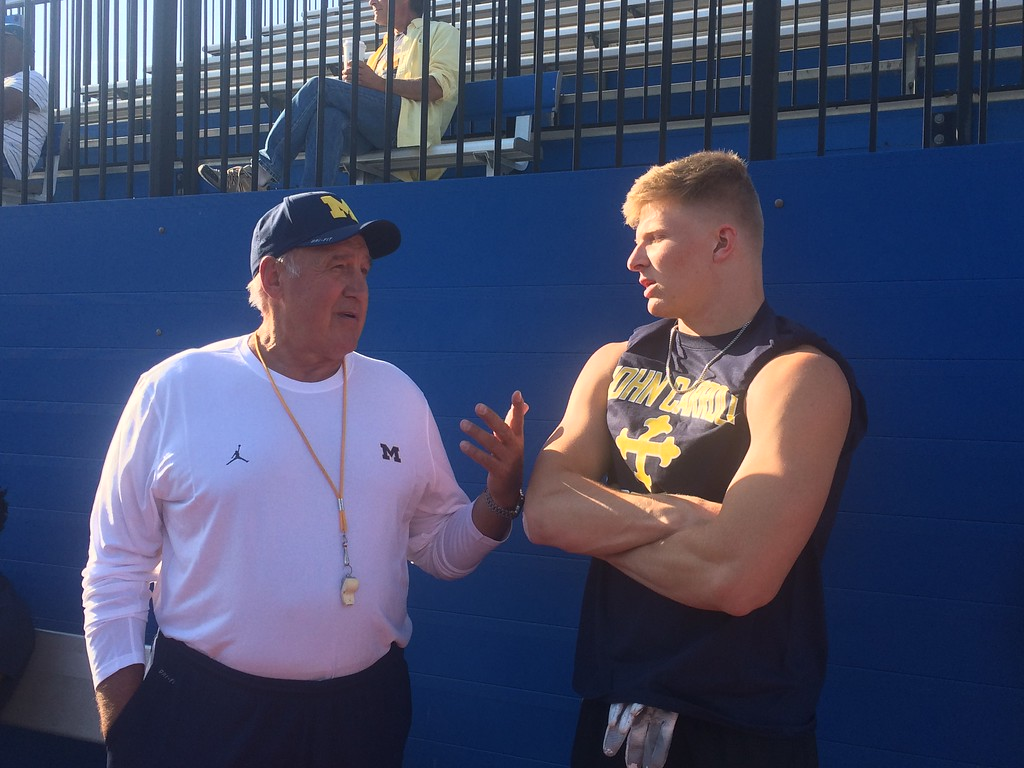 """. John Kampf - The News-Herald John Carroll hosted a Michigan satellite camp dubbed \""""Light Up The End\"""" on June 2 at Don Shula Stadium."""