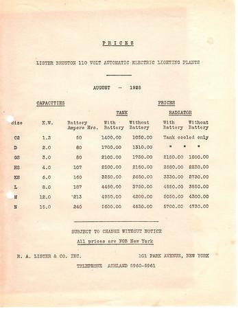 Lister Bruston Price List